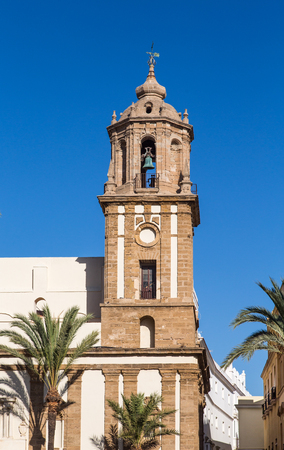 Old Brown Stone Bell Tower in Cadiz Spain Stock fotó