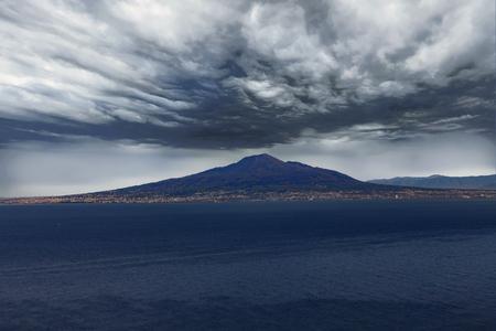 Mount Vesuvius Under Ominous Clouds