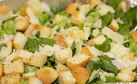 Croutons on Caesar Salad with Parmesan Cheese