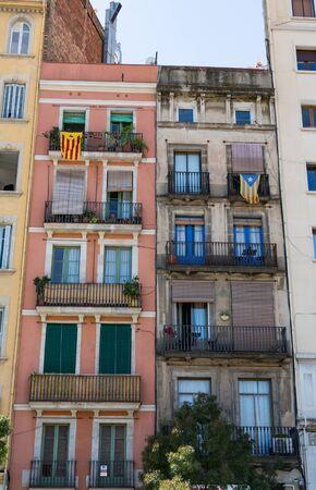 Catalan and Estelada Flags on Building Reklamní fotografie