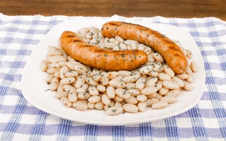 白豆とソーセージ 写真素材