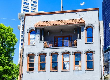 Old Blue Plaster Building in Seattle Zdjęcie Seryjne