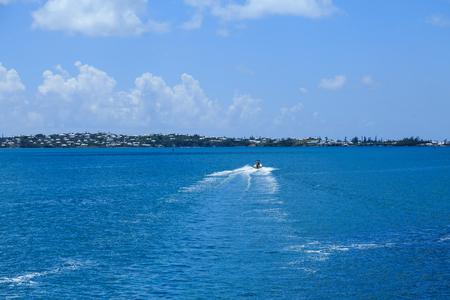 Boat Speeding Across Bermuda Bay