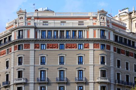 Classic Ornate Plaster and Stone Barcelona Apartment Stock Photo