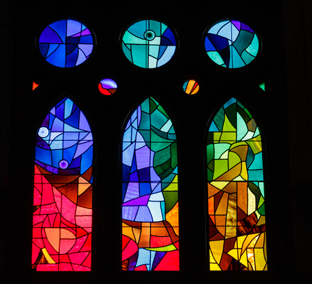 Modern Stained Glass in an old Spanish Church
