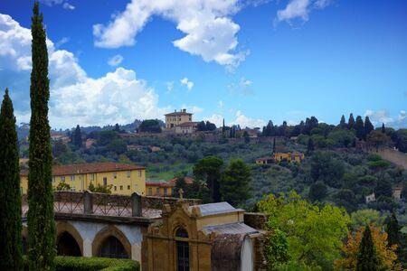 Villa's op het platteland van Toscane Stockfoto - 90403549