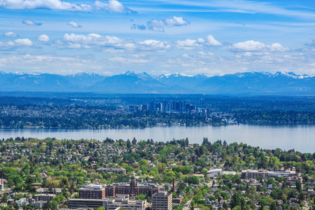 Bellevue and Cascades from Seattle Stock Photo