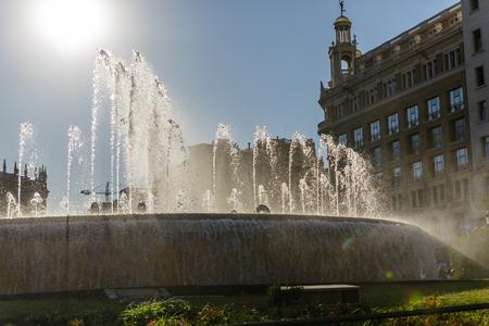 Placa de Catalunya fountain at Noon