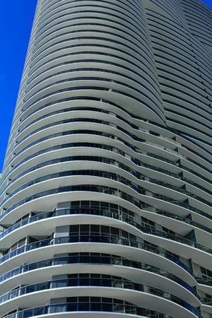 A Round White Balconies Rising up Miami Tower