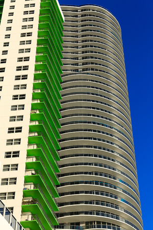 Green and Round Balconies Stock Photo