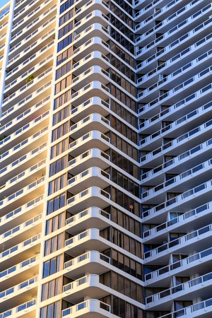 Wrap Around Balconies on High Rise Hotel Stock Photo