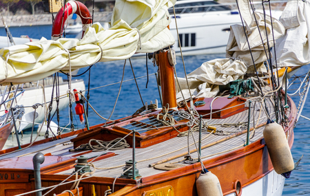Teak Deck on Wooden Sailboat