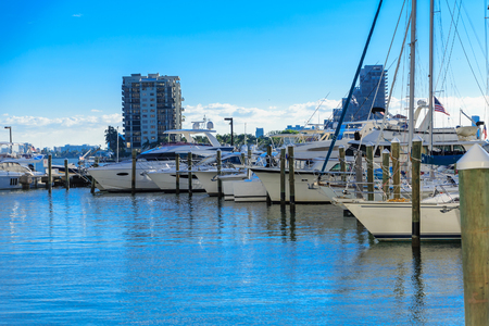 Line of White Yachts in Miami Marina