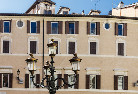 Classic Lampost in Roman Plaza Stock Photo