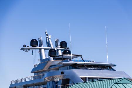 Bridge and Upper Decks of Yacht Stock Photo