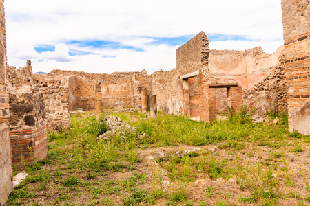 Courtyard in Old Pompeii Homes Stock Photo
