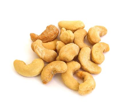 Salted Cashews on White 写真素材