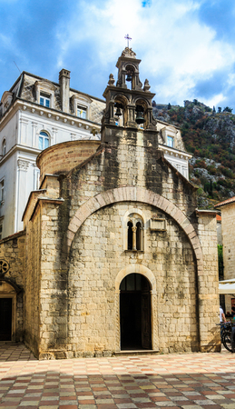 Old Stone Church in Kotor with Bells Stock Photo