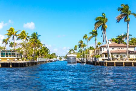 Yacht at Coastal Mansion