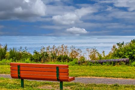 Red Bench Overlooking San Juan Islands
