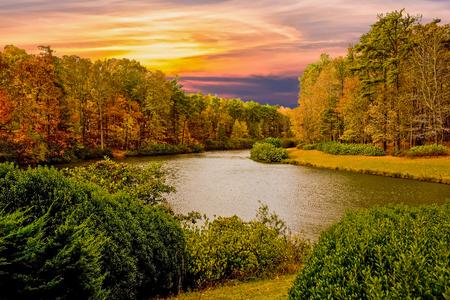 Autumn Lake at Sunset