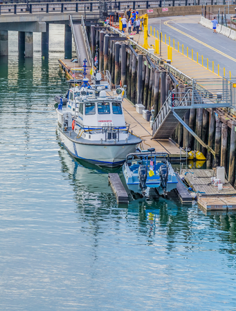 BOSTON, MASSACHUSETTS - September 18, 2014: The National Marine Manufacturers Association identifies 32 different types of boats. Boating activates range from canoeing and fishing to yacht sailing.