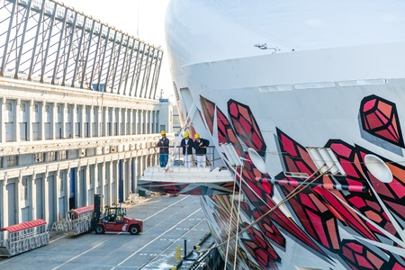 Three Workers on Cruise Ship Standard-Bild - 117945099