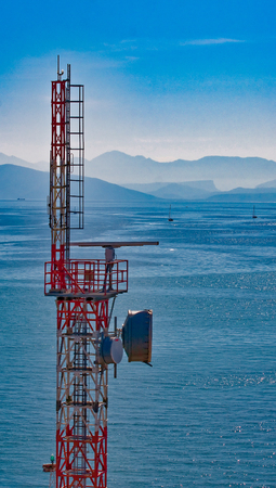 Microwave Tower on Coast Stock Photo