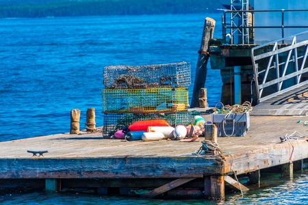 Lobster Traps on Pier background.