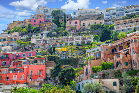Colorful Homes up Hill in Positano Italy