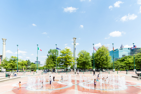 Kids in Olympic Fountain