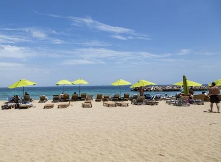 Sunbathers on St Maarten Beach Editorial