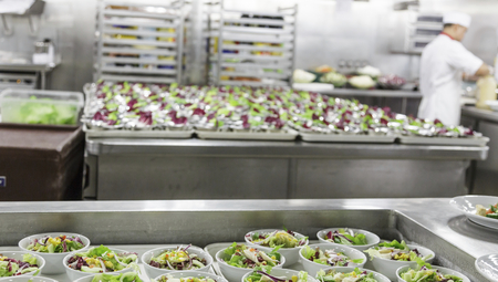 Prepping Salads in Restaurant Kitchen