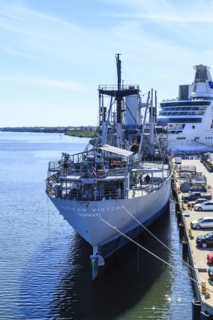 TAMPA, FLORIDA - February 27, 2016:  SS American Victory is a Victory ship which saw service in  World War II, the Korean War  and Vietnam War and became a museum ship and memorial in 1999.