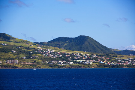 Homes and Hotels on the Green Hills of St Kitts Stock Photo