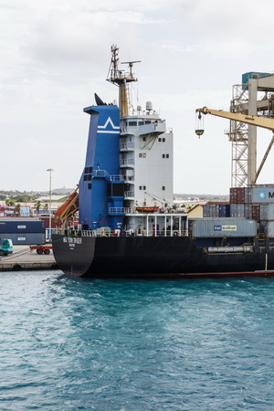 Singapore Freighter in Aruba Editorial