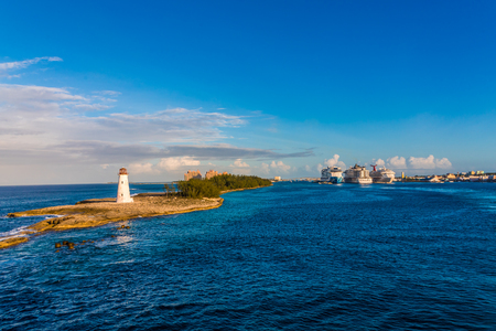Lighthouse with Cruise Ships in Background