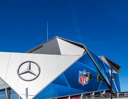 Mercedes and NFL Logos on Stadium