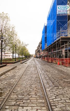 River Street Tracks Past Scaffolding