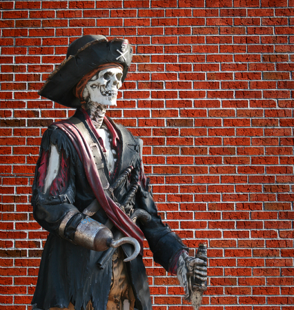 A Pirate on Brick Wall for Piracy or Halloween