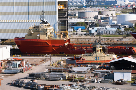 TAMPA, FLORIDA - February 27, 2016:  A shipyard is a place where ships are built and repaired. These can be yachts, military vessels, cruise liners or other cargo or passenger ships.