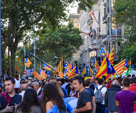 BARCELONA, SPAIN - February 12, 2019:  A dozen leaders of Catalonias failed 2017 independence bid have gone on trial in Madrid, facing charges including rebellion and sedition.