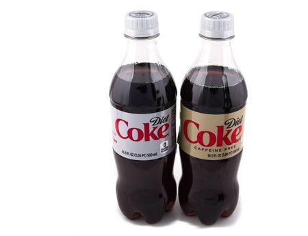 Bottles of Diet Coke and Caffeine Free Coke on White Background Editoriali