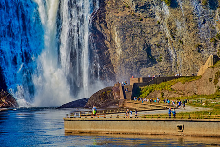 People at Bottom of Montmorency Falls
