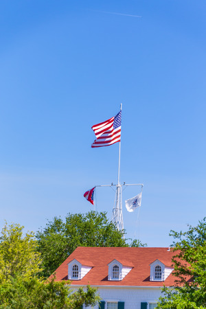 American Flag Over Roof Dormers