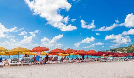 Orange and Yellow Beach Umbrellas