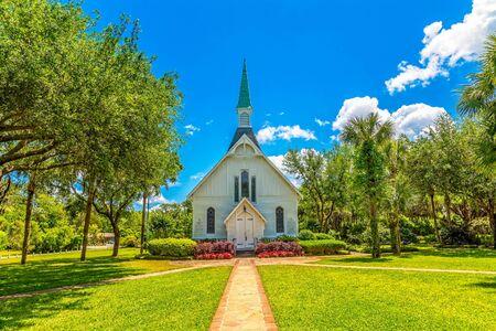 Chiesa metodista bianca Archivio Fotografico