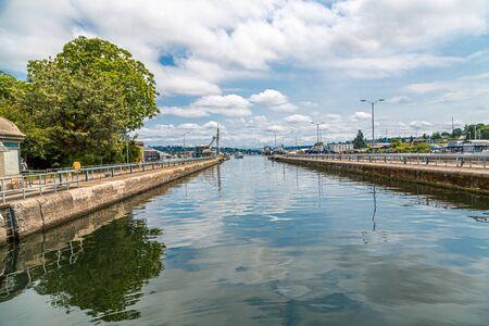 Blue Water of Ballard Locks Фото со стока