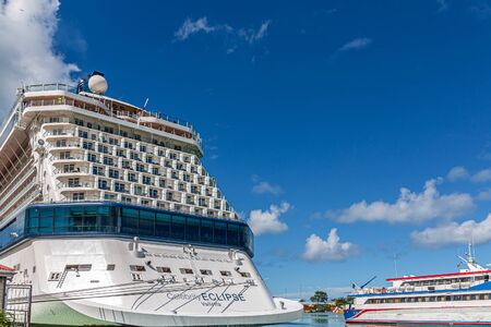 ANTIGUA, WEST INDIES - November 30, 2017: Royal Caribbean was founded in Norway, but is now headquartered in Miami. They operate over 25 around the world. They own Celebrity Cruise Lines Editöryel