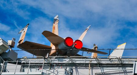 Fighter Jet on Deck of Aircraft Carrier Midway in San Diego